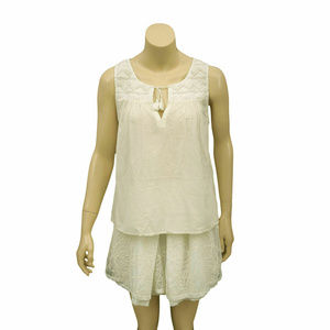 783 Joie Tie Front Embroidered Sleeveless Top S